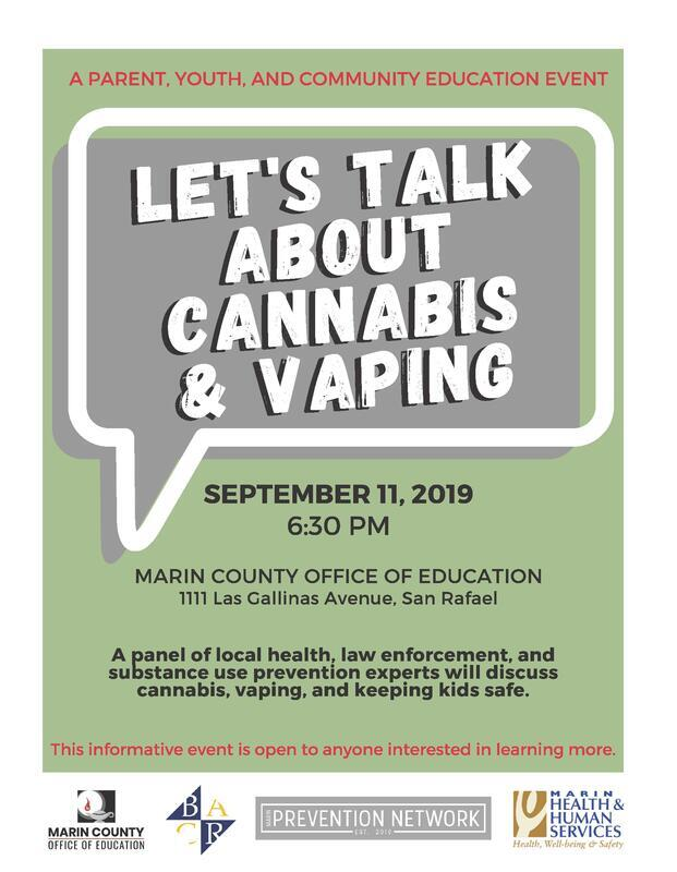 Marin County Office of Education discussion about Cannabis & Vaping